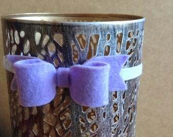 Purple Felt Hair Bow On Glittered Pink Elastic Headband, Easter, Spring, Purple Bow, Glittered Baby Headbands, Girls Headbands, Felt Bow