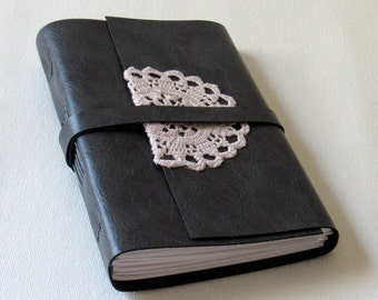leather & lace journal - faux charcoal gray leather 5x7 journal