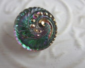 Vintage Style Button - 1 beautiful large, Czech pressed glass hand painted, swirl iridescent design, (lot C 109)