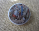 Vintage Collector Porcelain hand painted Colonial Man and Woman , Birchcraft England stamped( aug 74B )