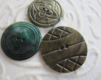 Vintage Buttons - 1940-1950's novelty celluloid, lot of 3 shades of green large and old and sweet( mar83)