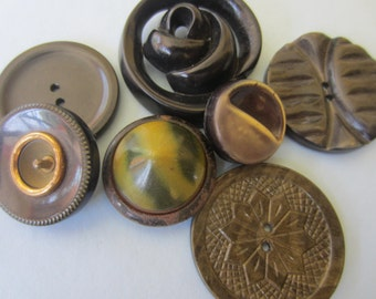 Vintage Buttons -7 assorted novelty green and neutral buttons, celluloid  1940-1950's(mar 137)