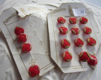 Vintage Buttons -  beautiful lot of 16, 2 matching styles dainty red and gold hand painted glass, Czechoslovakia original cards(mar 238)