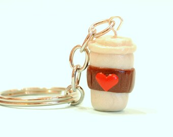 Coffee Cup Keychain, Coffee, Coffee Mug, Polymer Clay, Coffee Lover, Coffee Gift