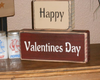 HAPPY VALENTINES DAY    wood shelf sitter sign primitive