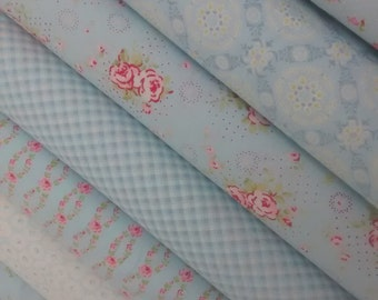 7 Fat Quarters Bundle of Brenda Riddle's FLEURS Fabrics in Light Blue - 1.75 yards total