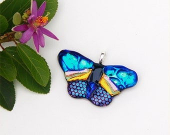 Butterfly pendant, fused dichroic glass, gold, yellow, green, blue, pink