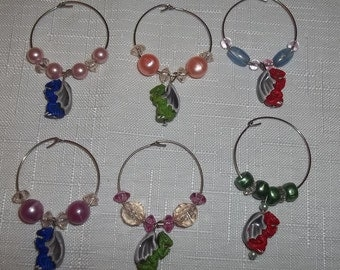 Wine Glass Charms, Set of 6 : Dragons