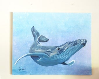 Humpback Whale Original Painting, gouache watercolor, large art on canvas, 22 x 28
