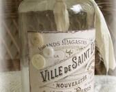 Handmade Altered Art Bottle Vintage Bottle Vintage Shabby French Bottle Original  Collage Art Bottle Antique Apothecary Bottle Shabby White