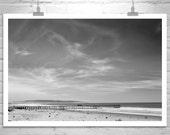 Pismo Beach Art, Wall Art, California Coast Photography, Black and White, Pacific Ocean Art, California Art, Ocean Pier, Large Art