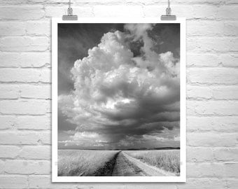 LIMITED EDITION NUMBERED, Landscape Art Photograph, Clouds, Black and White, Arizona, Sky Art, Fine Art Photography, Thunderstorm