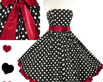 New Rockabilly Dress Polka Dot 50s Style Full Skirt Strapless Swing Dress S M L Xl Xxl 1X 2X 3X Ruffle Bow Sash Black White Burgundy Red