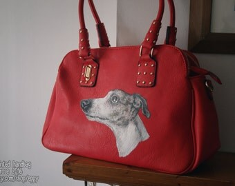 Hand Painted Moda Handbag Faux Leather Greyhound Whippet Sighthound
