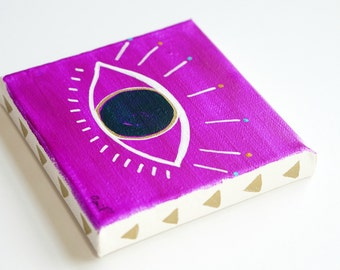 "Metallic Gold & Purple Third Eye Painting on Canvas, All Seeing Eye of Providence, Evil Eye Boho Art Home Decor Gifts for Girlfriend 5""x5"""