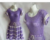 Vintage Dress Size L Purple Cotton Crochet Lace Hippie Boho 70s Mexican Huichol