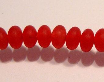 Matte Red Jade Smooth Rondelle Gemstone Beads....5mm....10 Beads