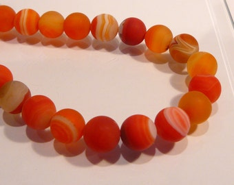 Matte Orange Stripe Agate smooth Round Gemstone Beads....10mm....4 Beads