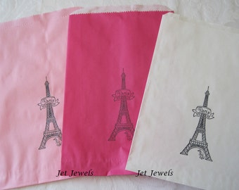10 Paper Bags, Gift Bags, Paris Theme Party, Eiffel Tower, White Paper Bags, Pink Paper Bags, Sweet 16 Party, Paris Decorations 6x9