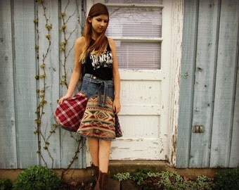 Med. Southwestern Plaid Flannel Denim Skirt// Upcycled// emmevielle