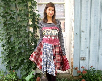 Striped Floral Plaid Babydoll Reconstructed Tunic Top// Altered Clothing// Medium// emmevielle