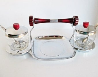Glo Hill Art Deco Bakelite and Chrome Set, Buffet Serving Dish with glass bowls lid spoons Red Home Gourmates Condiment  Mid Century Barware