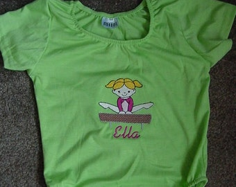Personalized Embroidered  Gymnastic Gymnast  Girls Toddler Tumbling Lime Green Leotard Size Small 18-24 months Short Sleeves Balance beam