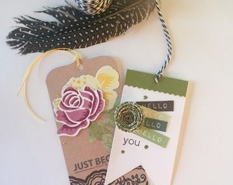 Two Handmade Gift Or Scrapbooking Tags