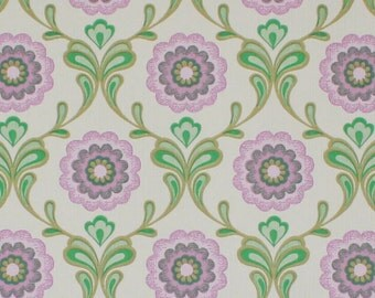 1970s Retro Vintage Wallpaper Purple and Green Floral Geometric by the Yard