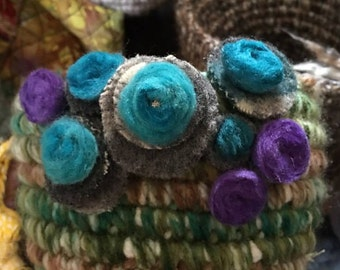 Spa basket Handmade crochet handles Felted wool flowers green  basket round  bin bucket storage container green  crochet