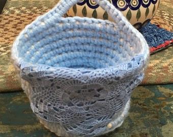 Easter Spa basket Handmade crochet handles doily  basket round  bin bucket storage container blue crochet