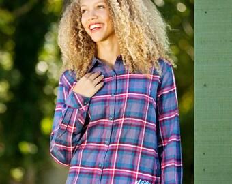 Monogrammed Flannel Shirt - Indigo Plaid - Personalized Flannel Shirt, Gift for Her, Christmas Gift, Fall Fashion, Monogrammed Plaid Shirt,