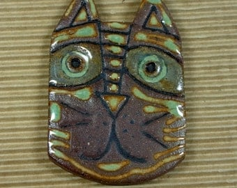 Scrappie Ceramic Cat Face Cabochon, Red Stoneware Clay, Multi-glazed, One of a Kind, Great for Wearing, Sharing or Beading Around