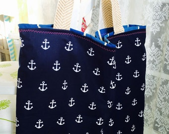 Anchor tote, beach bag, beach tote, sailor tote, sailor bag, nautical tote, nautical bag, nautical beach bag, extra large beach bag, large