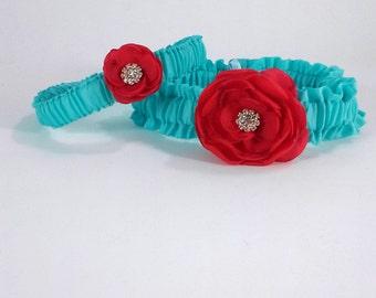 Blue and Red Rose Wedding Garter Set H161 - bridal garter accessory