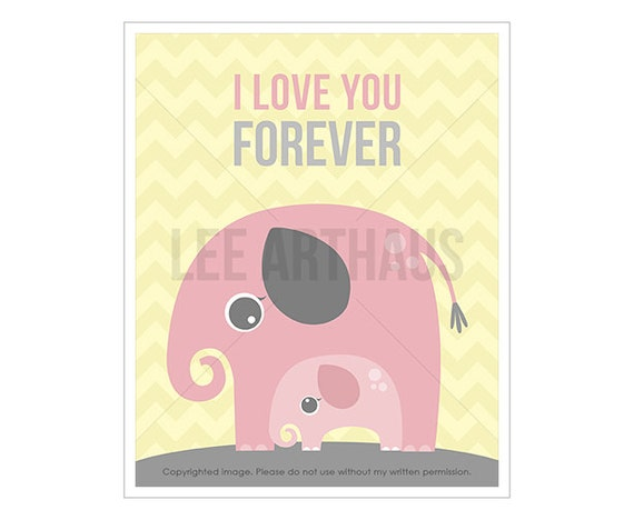 9T Elephant Art Prints - I Love You Forever - Pink Elephant Wall Art - Baby Elephant Drawing - Inspirational Nursery Quote - Love Prints