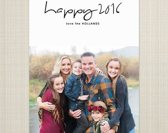 Photo New Year's Card, printable new years photo card, modern photo holiday card - handwritten sentiment 2016.
