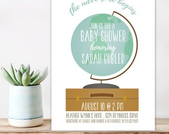 Baby Shower Invitation, The Adventure Begins, Boy Shower Invitation, World Map invitation,  Printable, DIY invitation, Little Adventurer