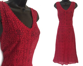 70s Red Lace Sheer Sleeveless Dress L