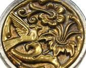 """XL Bird BUTTON,  Victorian Sparrow among flowers, metal button 1.25""""."""