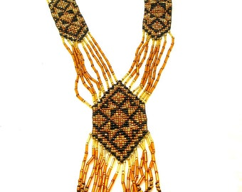 "Vintage traditional Ukrainian beaded necklace, c.1980s,  28""."