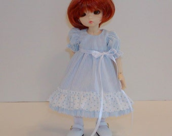 BlueStriped Ruffled Dress - Little Fee -LTFee, YoSD, Tella, BID, KWiggs & other Tiny BJD