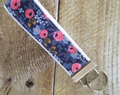 Wristlet Key Fob - Rosa in Navy Keychain - Rifle Paper Co Key Chain - Key Ring - Accessory