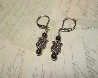 Hematite Owls - Gemstone Lever Back Dangle Earrings