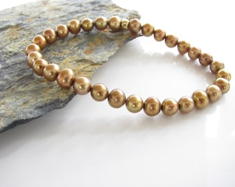Pearl Bracelet - Fresh Water Pearl Stretch Bracelet - Golden Pearls - Hand Made - Pearl Stacking Bracelets - Ready to Ship - Pearl Jewelry