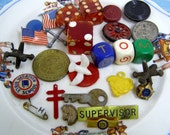 28 Little Treasures Found-In-the-Button Box-Dice-Charms-Jax-Good Luck Coin-Key-Supervisor Pin More