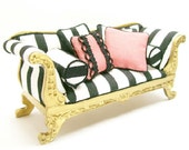 Black White Striped Couch Gold Upholstered 1:12 Dollhouse Miniature Artisan