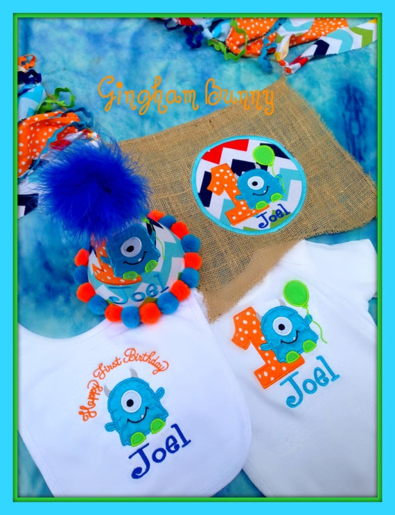 This Is A Custom Listing For 4 Pc SET Personalized Little Monster Birthday HAT Onesie 3 24 Months 2t 3Tfor T Shirt Bib And High