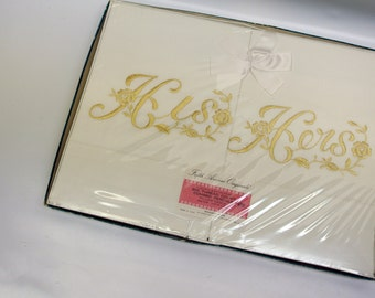 His and hers embroidered pillowcases - new in original box