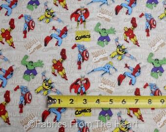 Marvel Comics Immortals Hulk Spiderman Iron Man BY YARDS Camelot Cottons Fabric